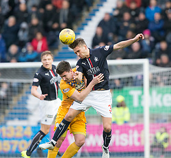 Morton's Ross Forbes and Falkirk's Luke Leahy. half time ; Falkirk 0 v 0 Morton, Scottish Championship game played 18/3/2017 at The Falkirk Stadium.