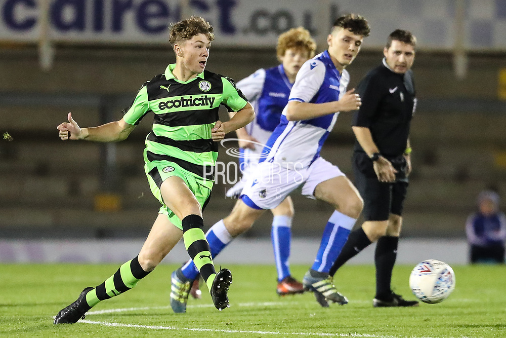Forest Green Rovers Jordan Stevens(8) passes the ball forward during the The FA Youth Cup match between Bristol Rovers and Forest Green Rovers at the Memorial Stadium, Bristol, England on 2 November 2017. Photo by Shane Healey.