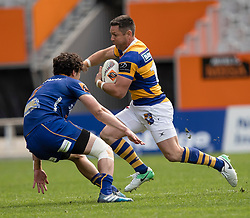 Bay of Plenty's Mike Delany looks to beat Otago's Jonathan Ruru in the Mitre 10 Cup rugby match, Forsyth Barr Stadium, Dunedin, New Zealand, Oct. 7 2017.  Credit:SNPA / Adam Binns ** NO ARCHIVING**