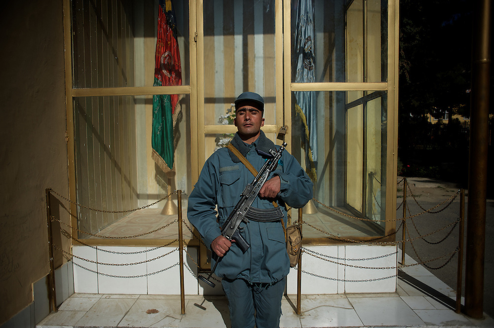 November 14, 2012 - Kabul, Afghanistan: An Afghan National Police (ANP) cadet stands guard at the commander's office in the Afghan Nacional Police Academy...ANP Academy trains 1250 cadets at the time during a period of four years. Every year, five hundred new recruits are selected, out of more than nine thousand of candidates, to join the academy and other five hundred graduate. Fifteen per cent of the recruits are women. (Paulo Nunes dos Santos)