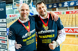 Andrej Zakelj and Goran Jagodnik of Sixt Primorska celebrate after winning during basketball match between KK Sixt Primorska and KK Hopsi Polzela in final of Spar Cup 2018/19, on February 17, 2019 in Arena Bonifika, Koper / Capodistria, Slovenia. KK Sixt Primorska became Slovenian Cup Champion 2019. Photo by Vid Ponikvar / Sportida