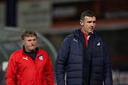31st October 2018, Kilmac Stadium, Dundee, Scotland; Ladbrokes Premiership football, Dundee v Celtic; Dundee manager Jim McIntyre and assistant Jimmy Boyle at the end