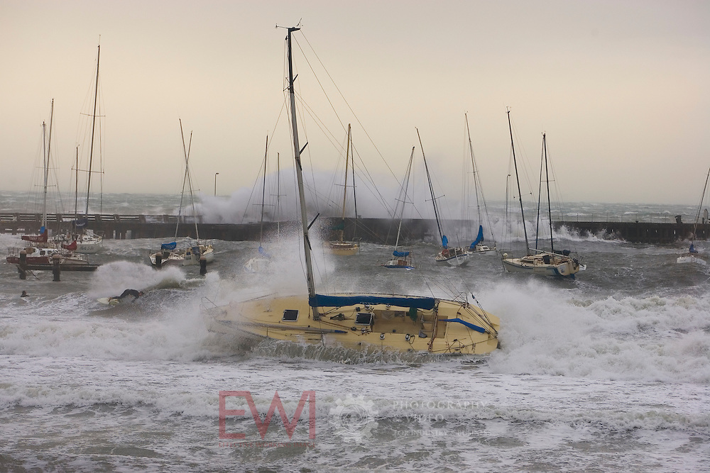 Storm damage to yachts at Mornignton Yacht Club. <br />