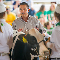 Judge Joe Hoffman talks with the entrants during youth competition during opening day of the San Bernardino County Fair in Victorville, Saturday, May 24, 2014.  (Eric Reed/For The Sun)