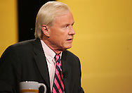 27 August 2007: MSNBC Hardball host Chris Matthews listens to Democratic presidential hopeful Senator Hillary Clinton (D-NY) (right) answer a question at the LIVESTRONG Presidential Cancer Forum in Cedar Rapids, Iowa on August 27, 2007.