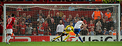 27.09.2011, Old Trafford, London, ENG, UEFA CL, Gruppe C, Manchester United (ENG) vs FC Basel (SUI), im Bild FC Basel 1893's Alexander Frei scores the third goal against Manchester United's goalkeeper David de Gea from the penalty spot // during the UEFA Champions League game, group C, Manchester United (ENG) vs FC Basel (SUI) at Old Trafford stadium in London, United Kingdom on 2011/09/27. EXPA Pictures © 2011, PhotoCredit: EXPA/ Propaganda Photo/ David Rawcliff +++++ ATTENTION - OUT OF ENGLAND/GBR+++++