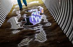 01.03.2017, Lahti, FIN, FIS Weltmeisterschaften Ski Nordisch, Lahti 2017, Nordische Kombination, Skisprung, Grossschanze HS130m, im Bild das Lahti 2017 Logo spiegelt sich in einer Wasser Pfütze // The Lahti 2017 logo is reflected in a water puddle during Skijumping competition of Nordic Combined of FIS Nordic Ski World Championships 2017. Lahti, Finland on 2017/03/01. EXPA Pictures © 2017, PhotoCredit: EXPA/ JFK