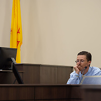Amos River is cross-examined by Assistant DA Brandon Vigil, in front of the jury on Monday morning of the Green trial at the 13th Judicial District Courthouse in Grants.