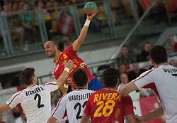 10.06.2015, Olympiahalle, Innsbruck, AUT, EHF Euro Qualifikation, Gruppe 7, Österreich vs Spanien, im Bild v.l. Alexander Hermann (AUT), Albert Rocas Comas (ESP), Markus Wagesreiter (AUT), Valero Rivera Folch (ESP) und Janko Bozovic (AUT) // during the EHF Euro Qualifikation group 7 match between Austria and Spain at Olympiahalle, Innsbruck, Austria on 2015/06/10. EXPA Pictures © 2015, PhotoCredit: EXPA/ Jakob Gruber