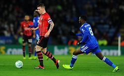 Kelechi Iheanacho of Leicester City applies pressure on Pierre-Emile Hojbjerg of Southampton- Mandatory by-line: Nizaam Jones/JMP- 27/11/2018- FOOTBALL - King Power Stadium- Leicester, England - Leicester City v Southampton - Carabao Cup