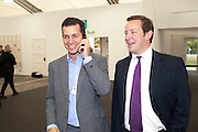 MATTHEW SLOTOVER; ED VAIZEY, OPENING OF FRIEZE ART FAIR. Regent's Park. London.  12 October 2011. <br /> <br />  , -DO NOT ARCHIVE-© Copyright Photograph by Dafydd Jones. 248 Clapham Rd. London SW9 0PZ. Tel 0207 820 0771. www.dafjones.com.