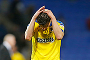 Disappointed  Callum Reilly of Wimbledon at full time during the EFL Sky Bet League 1 match between Bolton Wanderers and AFC Wimbledon at the University of  Bolton Stadium, Bolton, England on 7 December 2019.