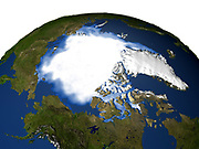 Satellite and computer generated image of the Arctic and Greenland.