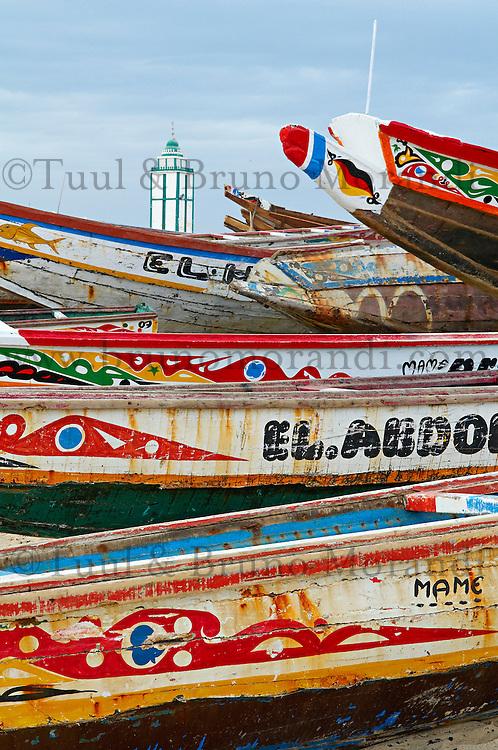 """Senegal, Petite cote, Port de peche de Mbour. // Senegal, Mbour fish harbour on the """"petite cote"""" (small coast)."""