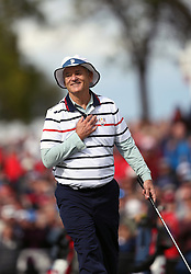 USA's Bill Murray reacts during a celebrity golf match ahead of the 41st Ryder Cup at Hazeltine National Golf Club in Chaska, Minnesota, USA.