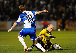 Aldershot Town's Phil Smith halts Bristol Rovers' Matty Taylor - Photo mandatory by-line: Neil Brookman/JMP - Mobile: 07966 386802 - 20/03/2015 - SPORT - Football - England - Memorial Stadium - Bristol Rovers v Aldershot - Vanarama Football Conference