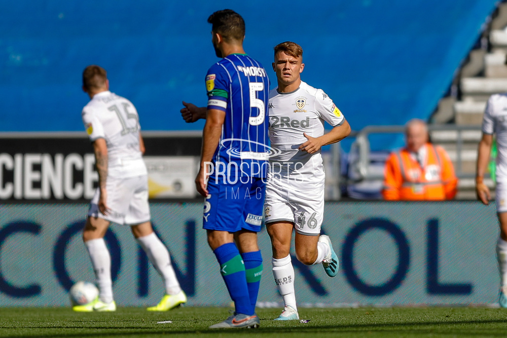 Leeds United midfielder Jamie Shackleton (46)  during the EFL Sky Bet Championship match between Wigan Athletic and Leeds United at the DW Stadium, Wigan, England on 17 August 2019.