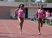 Mar 24, 2018; Los Angeles, CA, USA; Kendall Ellis (left) and Anna Cockrell of Southern California place first and second in the women's 200m in 23.07 and 23.37 during the Power 5 Trailblazer challenge at Cromwell Field.