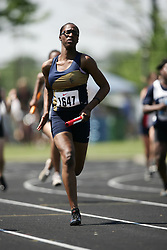 Hamilton, Ontario ---06/06/08--- Davene Young of St  Edmund Campion Secondary S competes in the 4X100 meter relay at the 2008 OFSAA Track and Field meet in Hamilton, Ontario..SEAN BURGES