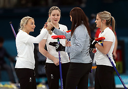 Great Britain's Eve Muirhead (second right) following victory in the Women's Round Robin Session 1 match against Olympic Athletes from Russia at the Gangneung Curling Centre during day five of the PyeongChang 2018 Winter Olympic Games in South Korea.