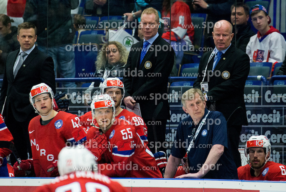 Roy Johansen, head coach of Norway (C) during Ice Hockey match between Russia and Norway at Day 1 in Group B of 2015 IIHF World Championship, on May 1, 2015 in CEZ Arena, Ostrava, Czech Republic. Photo by Vid Ponikvar / Sportida