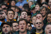 CAPE TOWN, SOUTH AFRICA - Saturday 28 September 2013, spectators sing the South African national anthem during the Castle Lager Rugby Championship test match between South Africa (Sprinkboks) and Australia (Wallabies) at DHL Newlands in Cape Town.<br /> Photo by Roger Sedres/ ImageSA