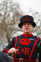 A beefeater tells the history of the Tower of London, London, England.