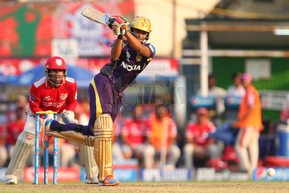 Shakib Al Hasan of the Kolkata Knight Riders during the first qualifier match (QF1) of the Pepsi Indian Premier League Season 2014 between the Kings XI Punjab and the Kolkata Knight Riders held at the Eden Gardens Cricket Stadium, Kolkata, India on the 28th May  2014<br /> <br /> Photo by Ron Gaunt / IPL / SPORTZPICS<br /> <br /> <br /> <br /> Image use subject to terms and conditions which can be found here:  http://sportzpics.photoshelter.com/gallery/Pepsi-IPL-Image-terms-and-conditions/G00004VW1IVJ.gB0/C0000TScjhBM6ikg
