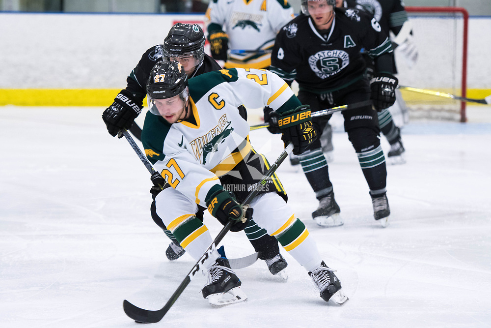 5th year forward Cody Fowlie (27) of the Regina Cougars in action during the Men's Hockey Home Opener on October 6 at Co-operators arena. Credit: Arthur Ward/Arthur Images