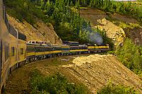 Alaska Railroad train crossing through Healy Canyon, near Denali National Park, Alaska