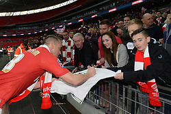Bristol City's Aaron Wilbraham signs autographs after beating Walsall 2-0 in the final - Photo mandatory by-line: Dougie Allward/JMP - Mobile: 07966 386802 - 22/03/2015 - SPORT - Football - London - Wembley Stadium - Bristol City v Walsall - Johnstone Paint Trophy Final