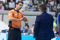 San Pablo Burgos coach Diego Epifanio talking with referee during Liga Endesa match between Real Madrid and Unicaja Malaga at Coliseum Burgos in Burgos , Spain. January 27, 2018. (ALTERPHOTOS/Borja B.Hojas)