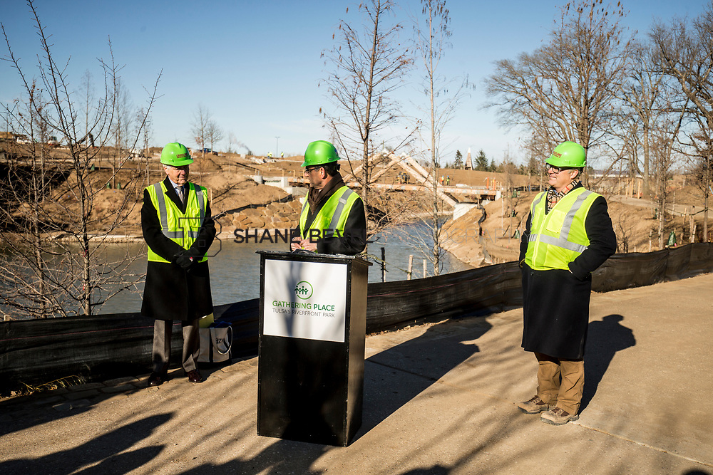 1/12/18 11:10:56 AM -- Halliburton CEO Jeff Miller and George Kaiser visit the Gathering Place for a press conference announcing Halliburton's support for the park. <br /> <br /> Photo by Shane Bevel