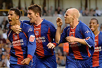 Photo: Glyn Thomas.<br /> Wolverhampton Wanderers v Crystal Palace. Coca Cola Championship. 09/08/2005.<br /> Palace's Jobi McAnuff (L) celebrates equalising for his team with Jonathan Macken (second from L) and Andy Johnson.