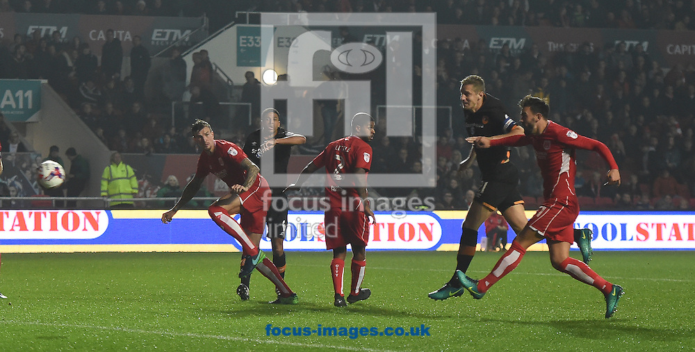Michael Dawson of Hull City Tigers scores their second goal during the EFL Cup match at Ashton Gate, Bristol<br /> Picture by Daniel Hambury/Focus Images Ltd +44 7813 022858<br /> 25/10/2016