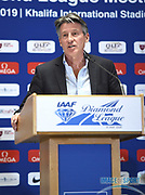 IAAF president Sebastian Coe (GBR) speaks at a news conference at the Intercontinental Doha Hotel-The City, Thursday, May 2, 2019, in Doha, Qatar prior to the 2019 IAAF Diamond League Doha meeting. (Jiro Mochizuki/Image of Sport)