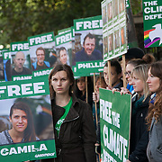 Greenpeace picket outside the Russian Embassy in London in defence of the 30 Greenpeace activists arreseted and detained in Russia. The Arctic 30 were arrested and the ship the Arctic Sunrise ceased by armed Ruassian special forces in international waters in the Arctic after Greenpeace peacefully tried to scale a Gazprom oil rig to prevent it from drilling for oil in the highly sensitive arctic sea. The peacefull activist were met with coastal guards and special forces armed knives and guns. The Russian authorities threatened to sink the Greenpeace inflateables and fired warning shots in the sea and over the unarmed activisits. All thirty are now facing charges of piracy, highly trumped up and distorted charges, and are kept on remand in Murmansk for 2 months pending investications in to their alleged crimes.