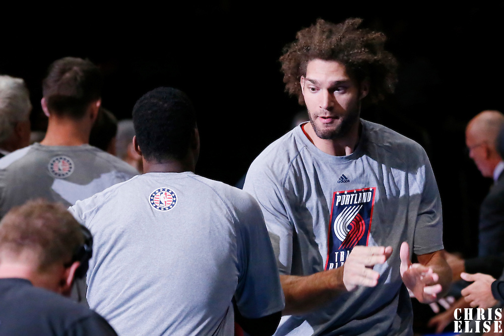 08 November 2014: Portland Trail Blazers center Robin Lopez (42) is seen during the players introduction prior to the Los Angeles Clippers 106-102 victory over the Portland Trail Blazers, at the Staples Center, Los Angeles, California, USA.