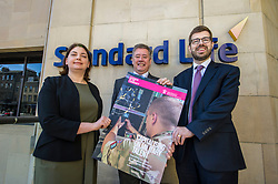 Pictured: Laura Mazarra, Keith Brown and Sandy McDonald, Head of Sustainability at Standard Life Plc; <br /> Veterans minister, Keith Brown MSP visited Standard Life offices in Edinburgh today and launched a toolkit to help firms embrace the skills of veterans and support former military personnel into second careers.  Mr Brown met veteran Laura Mazzara who now works for Standard Life <br /> Ger Harley | EEm 21 March 2017