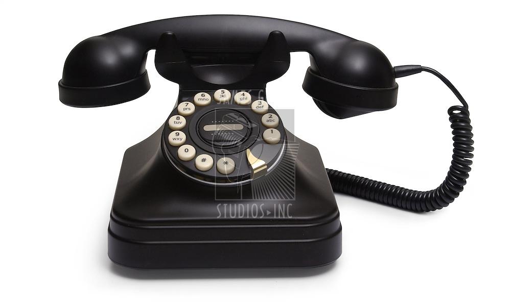 antique black desk telephone
