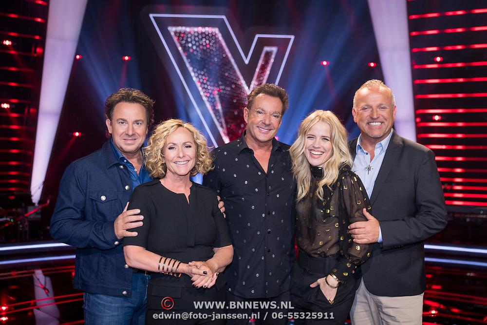 NLD/Hilversum/20180618 - Presentatie Jury The Voice Sr., Marco Borsato, Angela Groothuizen, Gerard Joling, Ilse DeLange en Gordon Heuckeroth