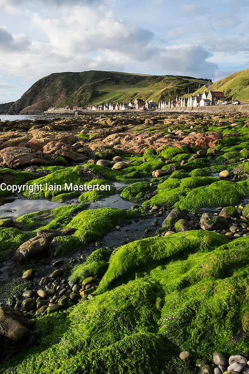 View of small village of Crovie on coast of Aberdeenshire in Scotland