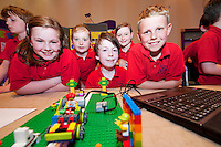 Young engineers and Scientists from all over county Galway including pupils from Gardenfields National School Lauren McDonagh, Emma O Toole, Cathal McHugh, Shauna Claus and Joe Mullan at the Medtronic Junior FIRST LEGO League organised by Galway Education Centre in the Radisson Blu Hotel Galway. This year the theme was 'Super Seniors' where pupils 6 to 9 years of age had to research problems for adults over 60 and invent a solution.<br /> . Picture:Andrew Downes