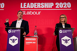 © Licensed to London News Pictures. 16/02/2020. London, UK. Labour leadership candidates Labour leadership candidates KEIR STARMER MP for Holborn and St Pancras and Shadow Secretary of State for Exiting the European Union and REBECCA LONG-BAILEY MP for Salford and Eccles and Shadow Secretary of State for Business, Energy and Industrial Strategy at a hustings event hosted by the Co-operative Party held at Business Design Centre, north London. Photo credit: Dinendra Haria/LNP