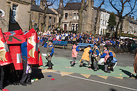 Pupils at Parkinson Lane School re-enact Boudica's Iceni battle with  Roman Legions here formed in to a Testudo, ..© Martin Jenkinson, tel 0114 258 6808 mobile 07831 189363 email martin@pressphotos.co.uk. Copyright Designs & Patents Act 1988, moral rights asserted credit required. No part of this photo to be stored, reproduced, manipulated or transmitted to third parties by any means without prior written permission