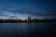 The upper westside skyline seen over the Central Park Reservoir.