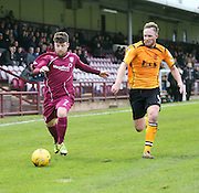 Arbroath's Bobby Linn goes past Annan's Martin McNiff - Arbroath v Annan Athletic, Ladbrokes SPFL League two at Gayfield<br /> <br />  - &copy; David Young - www.davidyoungphoto.co.uk - email: davidyoungphoto@gmail.com