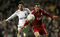 Photo: Paul Thomas/Sportsbeat Images.<br /> Liverpool v Besiktas. UEFA Champions League. 06/11/2007.<br /> <br /> Mehmet Sedef (L) of Besiktas battles with Jamie Carragher.