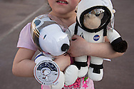 CAPE CANAVERAL, FL | March 1, 2016<br /> Visiting form Minneapolis, Minn., 4-year-old Raelyn (LAST NAME WITHHELD BY MOM) holds some space-related souvenirs she picked out in the Kennedy Space Center gift shop.<br /> <br /> (Melissa Lyttle for The New York Times)