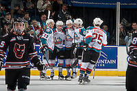 KELOWNA, CANADA - FEBRUARY 1: Erik Gardiner #12, Dillon Dube #19, Reid Gardiner #23, Cal Foote #25 and Calvin Thurkauf #27 of the Kelowna Rockets celebrate a first period goal against the Calgary Hitmen on February 1, 2017 at Prospera Place in Kelowna, British Columbia, Canada.  (Photo by Marissa Baecker/Shoot the Breeze)  *** Local Caption ***